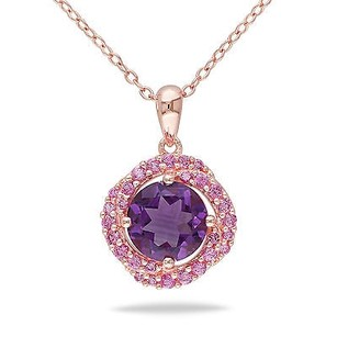 Amour Pink Silver 1 34 Ct Tgw Amethyst And Pink Sapphire Fashion Pendant Necklace 18