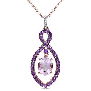 Amour Pink Silver Rose De France Amethyst Diamond Infinity Pendant Necklace 18