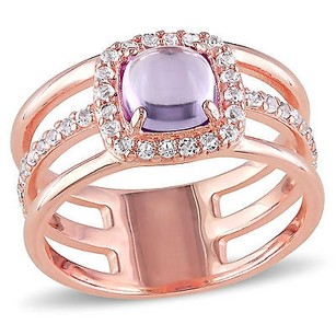Amour Rose Pink Sterling Silver Amethyst And White Topaz Halo Ring