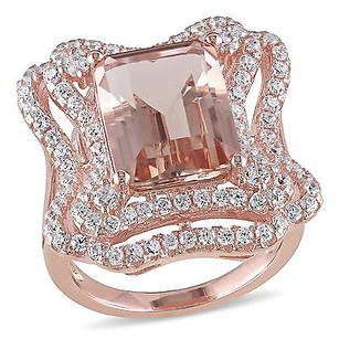 Amour Rose Pink Sterling Silver Cubic Zirconia And Simulated Morganite Cocktail Ring
