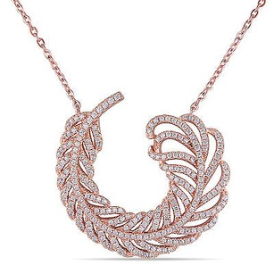 Amour Rose Pink Sterling Silver Curled Swirledcubic Zirconia Leaf Necklace 19 Chain
