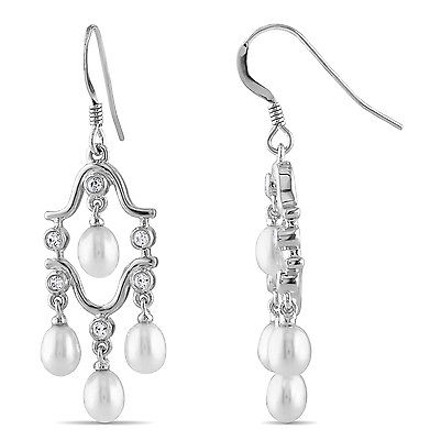 Amour Silver Chandelier Earrings With 1.5mm Cz 4-4.5mm Freshwatter Rice Pearls