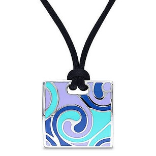 Amour Stainless Steel Square Silk Rope Pendant Necklace 20 Black Silk Rope Chain