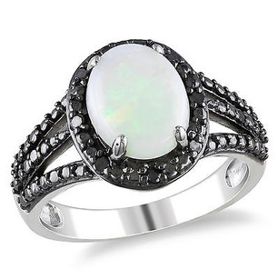 Amour Sterling Silver 1 58 Ct Tgw Opal And Black Diamond Fashion Ring 110 Ct Tdw 925