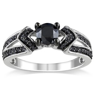 Amour Sterling Silver 1 Ct Black Diamond Tw Engagement Geometric Fashion Ring 925