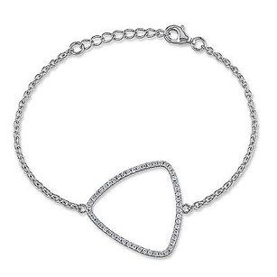 Amour Sterling Silver 1 Ct Tgw Cubic Zirconia Chain Triangle Bracelet 7.5 925