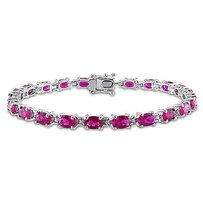 Amour Sterling Silver 12 Ct Tgw Ruby Bracelet