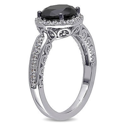 Amour Sterling Silver 13 Ct Tgw Black And White Cubic Zirconia Engagement Ring