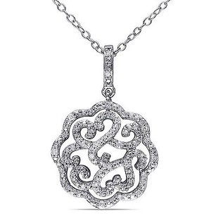 Amour Sterling Silver 16 Ct Tdw Diamond Flower Pendant Necklace G-hi I2-i3 18