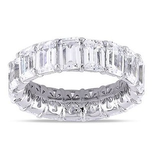 Amour Sterling Silver 17 45 Ct Tgw Emerald Cut Cubic Zirconia Eternity Ring