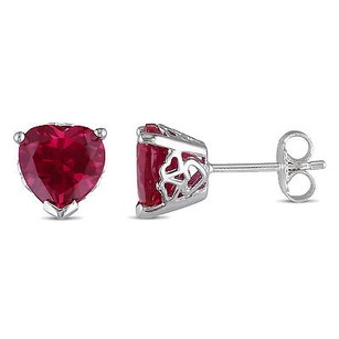 Amour Sterling Silver 23 Carat T.g.w. Heart Created Ruby Stud Earrings
