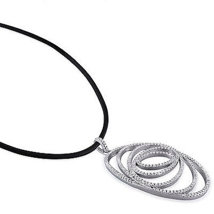 Amour Sterling Silver 3.87 Ct Tgw Cubic Zirconia Pendant Necklace 24 Leather Cord