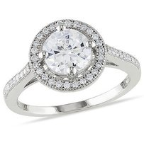 Amour Sterling Silver 7mm 1mm Round White Cubic Zirconia Ring