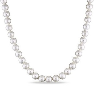Amour Sterling Silver 8-9 Mm Freshwater White Pearl Necklace Strand 18