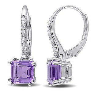 Amour Sterling Silver Amethyst 110 Ct Tdw Diamond Dangle Leverback Earrings G-h I2-i3