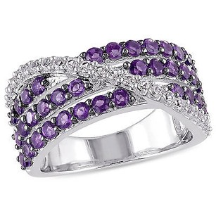 Amour Sterling Silver Amethyst-africa And Created White Sapphire Ring