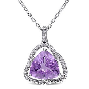 Amour Sterling Silver Amethyst And Diamond Accent Pendant Necklace 18