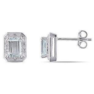 Amour Sterling Silver Aquamarine And 110 Ct Tdw Diamond Stud Earrings H-i I3