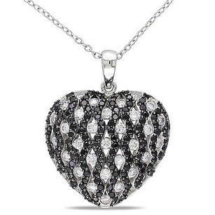 Amour Sterling Silver Black White Cubic Zirconia Heart Love Pendant Necklace 18 Chain