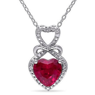 Amour Sterling Silver Created Ruby And Diamond Accent Heart Pendant Necklace 18