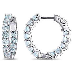 Amour Sterling Silver Ct Tgw Sky Blue Topaz Hoop Earrings 925