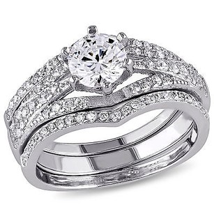 Amour Sterling Silver Cubic Zirconia 3-piece Engagement Solitaire Bridal Ring Set