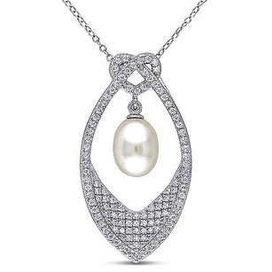 Amour Sterling Silver Cubic Zirconia 8-9 Mm Freshwater Pearl Pendant With 18 Chain