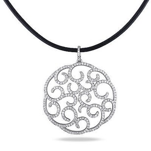 Amour Sterling Silver Cubic Zirconia Circle Design Pendant Necklace With 18 Chain