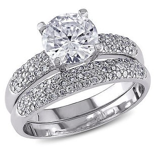 Amour Sterling Silver Cz With Accents Bridal Engagement Wedding Ring Set