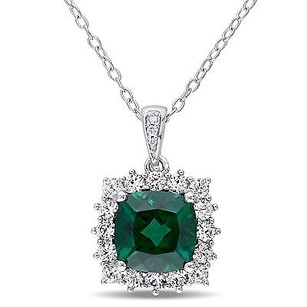 Amour Sterling Silver Emerald White Sapphire And Diamond Halo Pendant Necklace 18