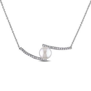 Amour Sterling Silver Freshwater White Pearl And White Sapphire Pendant Necklace 18