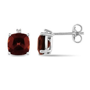 Amour Sterling Silver Garnet And Diamond Accent Stud Earrings