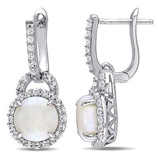 Amour Sterling Silver Opdropal And White Topaz Halo Dangle Leverback Earrings