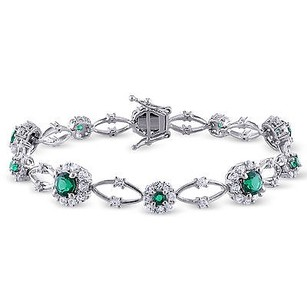 Amour Sterling Silver Simulated Emerald And White Sapphire Bracelet 7 6.75 Ct