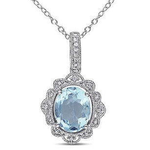 Amour Sterling Silver Sky Blue Topaz 110 Ct Tdw Diamond Pendant Necklace H-i I3 18