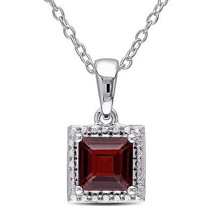 Amour Sterling Silver Square Garnet Emerald Pendant Necklace 18 Cable Chain