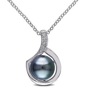 Amour Sterling Silver Tahitian Pearl And Diamond Accent Pendant Necklace 9-9.5 Mm 18