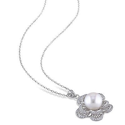 Amour Sterling Silver White Pearl Cubic Zirconia Flower Pendant Necklace 9-10 Mm 18