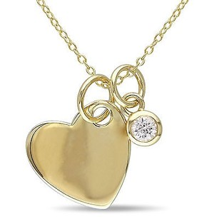 Amour Yellow Sterling Silver Created White Sapphire Heart Charm Pendant Necklace 18