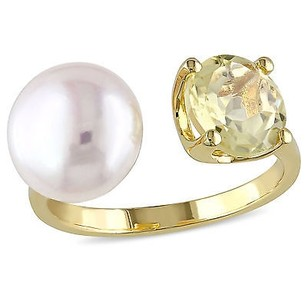 Amour Yellow Sterling Silver Freshwater White Pearl And Lemon Quartz Ring