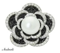 Andreoli Andreoli 18k White Gold 2.80 Tcw White Black Diamond Pearl Flower Ring R692