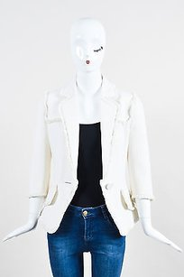 Andrew Gn Andrew Gn Cream Wool Fringe Cropped Sleeve Blazer Jacket