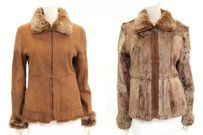 Andrew Marc Tan Leather Rabbit Fur Reversible Zip Up Sz Medium Two In One Coat Fur Coat Brown Leather Jacket