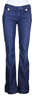 Anlo Womens Flair 27 Cotton Dark Wash Casual Trousers Flare Leg Jeans