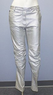 Ann Demeulemeester Sliver Metallic Extend Tab Leather Pants Hs1770 Skinny Jeans
