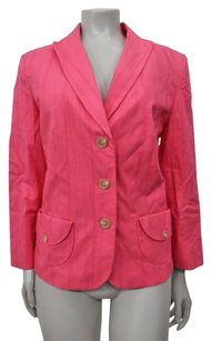 Ann Taylor Ann Taylor Pink Button Career Blazer Striped Textured