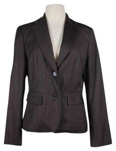 Ann Taylor Ann Taylor Womens Brown Beige Striped Blazer Jacket Polyester Blend Lined