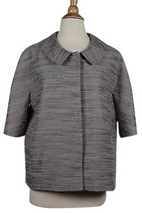 Ann Taylor Ann Taylor Womens Gray Striped Blazer Short Sleeve Cotton Blend