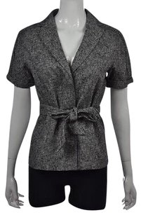 Ann Taylor Womens Black Basic Textured Speckled Cotton Blazer Multi-Color Jacket