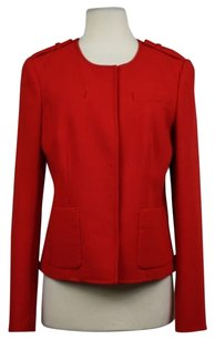 Ann Taylor Womens Basic Wtw Long Sleeve Wool Blazer Red Jacket